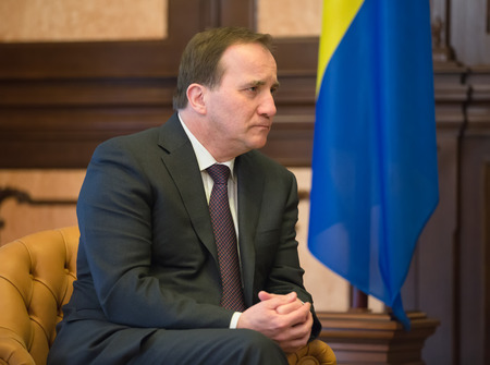 minister: KIEV, UKRAINE - Mar. 11, 2015: Prime Minister of the Kingdom of Sweden Stefan Lofven during a meeting with Ukrainian President Petro Poroshenko