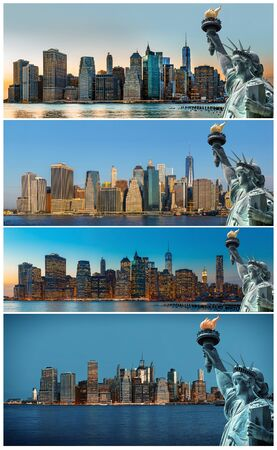 Symbols of New York. Manhattan Skyline and The Statue of Liberty, New York City. Set of 4 images photo