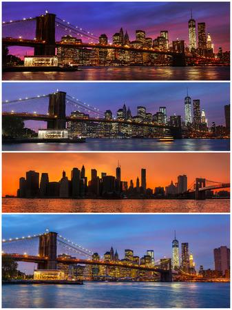 Brooklyn Bridge, East River en Manhattan met lichten en reflecties. New York. Set van 4 beelden