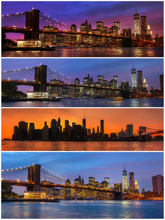 Brooklyn Bridge, East River and Manhattan with lights and reflections. New York. Set of 4 images