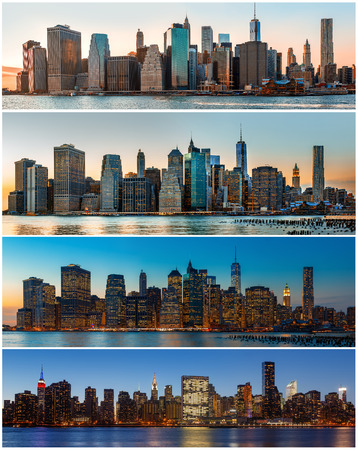 new york city panorama: Manhattan. New York City skyline panorama. Set of 4 images