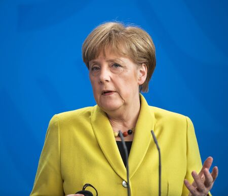 chancellor: BERLIN, GERMANY - Mar. 16, 2015: Chancellor of the Federal Republic of Germany Angela Merkel during a joint briefing with President of Ukraine Petro Poroshenko in Berlin
