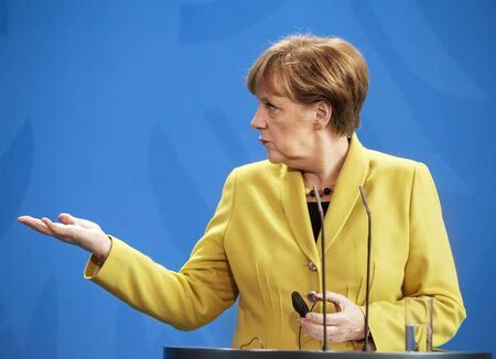 BERLIN, GERMANY - Mar. 16, 2015: Chancellor of the Federal Republic of Germany Angela Merkel during a joint briefing with President of Ukraine Petro Poroshenko in Berlin Banco de Imagens - 37712934