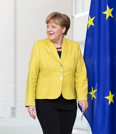 BERLIN, GERMANY - Mar. 16, 2015: Chancellor of the Federal Republic of Germany Angela Merkel before a joint briefing with President of Ukraine Petro Poroshenko in Berlin Editöryel