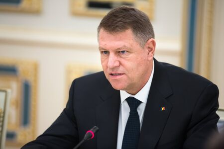 klaus: KIEV, UKRAINE - Mar. 17, 2015: Romanian President Klaus Werner Iohannis, during a meeting with the President of Ukraine, Pyotr Poroshenko