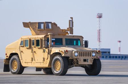 kiev: KIEV, UKRAINE - Mar. 25, 2015: American armored vehicle HMMWV (Humvee) at Borispol International Airport in Kiev