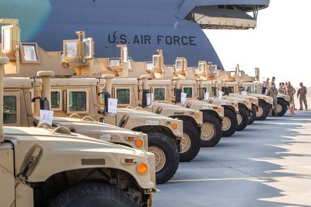 KIEV, UKRAINE - Mar. 25, 2015: American armored vehicles HMMWV (Humvee) at Borispol International Airport in Kiev