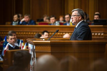 rada: KIEV, UKRAINE - Apr. 09, 2015: Polish President Bronislaw Komorowski during a parliamentary session in the building of the Verkhovna Rada of Ukraine in Kiev
