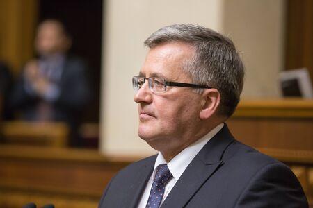parliamentary: KIEV, UKRAINE - Apr. 09, 2015: Polish President Bronislaw Komorowski during a parliamentary session in the building of the Verkhovna Rada of Ukraine in Kiev