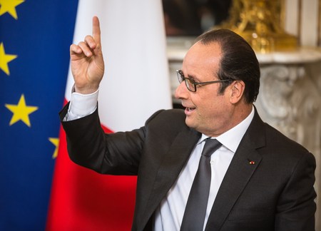 intercourse: PARIS, FRANCE - Apr 22, 2015: French President Francois Hollande during an official meeting of the President of Ukraine Petro Poroshenko Editorial