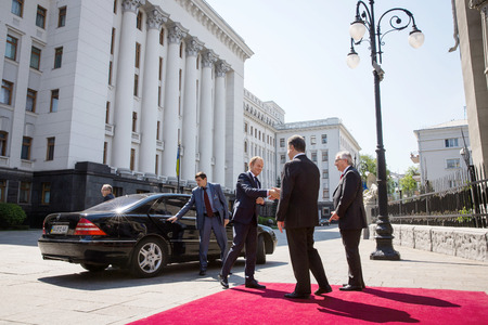 tusk: KIEV, UKRAINE - Apr. 27, 2015: President of the European Council, Donald Tusk, European Commission President Jean-Claude Juncker and President of Ukraine Petro Poroshenko during Ukraine - EU Summit