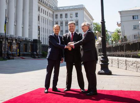 donald: KIEV, UKRAINE - Apr. 27, 2015: President of the European Council, Donald Tusk, European Commission President Jean-Claude Juncker and President of Ukraine Petro Poroshenko during Ukraine - EU Summit