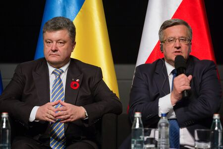 nazism: GDANSK, POLAND - May 07, 2015: Polish President Bronislaw Komorowski with President of Ukraine Petro Poroshenko during events to mark the 70th anniversary of the victory over Nazism in Europe Editorial