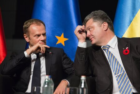 tusk: GDANSK, POLAND - May 07, 2015: President of the European Council, Donald Tusk and President of Ukraine Petro Poroshenko during events to mark the 70th anniversary of the victory over Nazism in Europe Editorial