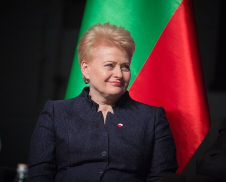 dalia: GDANSK, POLAND - May 07, 2015: Lithuanian President Dalia Grybauskaite during events to mark the 70th anniversary of the victory over Nazism in Europe