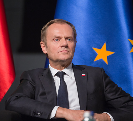 nazism: GDANSK, POLAND - May 07, 2015: President of the European Council, Donald Tusk during events to mark the 70th anniversary of the victory over Nazism in Europe Editorial