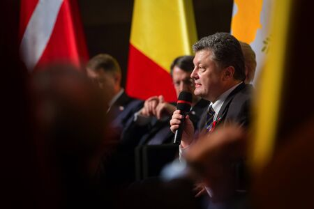 dalia: GDANSK, POLAND - May 07, 2015: President of Ukraine Petro Poroshenko during events to mark the 70th anniversary of the victory over Nazism in Europe