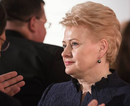 nazism: GDANSK, POLAND - May 07, 2015: Lithuanian President Dalia Grybauskaite during events to mark the 70th anniversary of the victory over Nazism in Europe