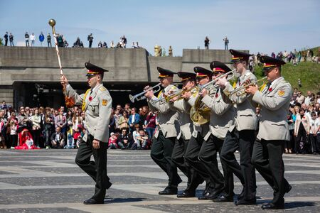 nazism: KIEV, UKRAINE - May. 09, 2015: Military bands march on the day of the 70th anniversary of the victory over Nazism in Kiev Editorial