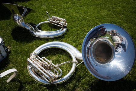 nazism: KIEV, UKRAINE - May. 09, 2015: Musical instruments during the march of military bands on the day of the 70th anniversary of the victory over Nazism in Kiev