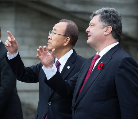 reconciliation: KIEV, UKRAINE - May. 08, 2015: President of Ukraine Petro Poroshenko, and UN Secretary General Ban Ki-moon during the day of remembrance and reconciliation in Kiev