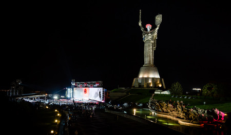 reconciliation: KIEV, UKRAINE - May. 08, 2015: Memorial and art event The first minute of the world on the occasion of the Day of Remembrance and Reconciliation devoted to Great Patriotic War of 1941-1945 at night
