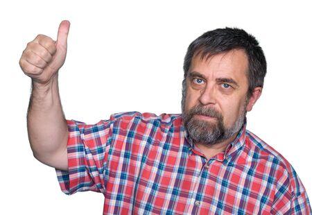 tumb: Middle-aged man tumb up on white background Stock Photo