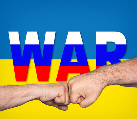 imperialism: Political metaphor. Russian Ukrainian conflict. Two men bumping fists against word WAR written by colors of the Russian flag on the background of Ukrainian flag