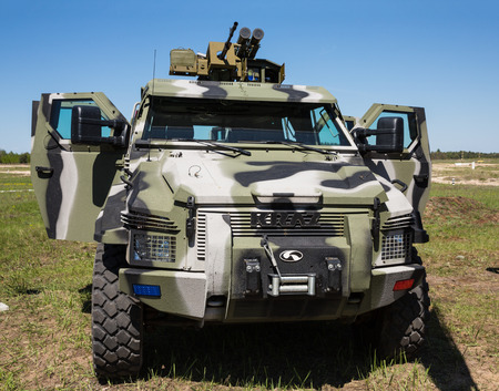 reg: CHERNIHIV REG, UKRAINE - May. 11, 2015: The latest weapons, armored vehicles KRAZ and anti-tank missiles for the army of Ukraine at the training center of the Land Forces of the Armed Forces Desna Editorial