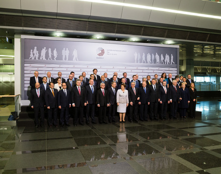 politicians: RIGA, LATVIA - May 22, 2015: Eastern Partnership Sammit. Collective photo of participants of the summit, heads of state and politicians