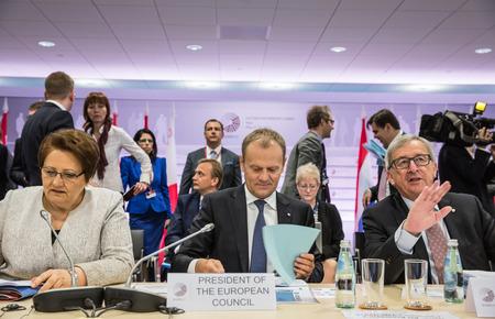 donald: RIGA, LATVIA - May 22, 2015: Eastern Partnership Sammit. President of the european council Donald Tusk and President of the european commission Jean-Claude Juncker