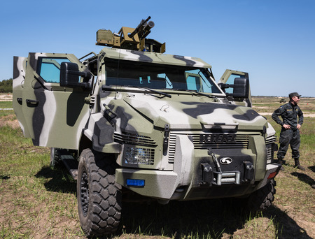 reg: CHERNIHIV REG, UKRAINE - May. 11, 2015: The latest weapons, armored vehicles and anti-tank missiles for the army of Ukraine at the training center of the Land Forces of the Armed Forces Desna