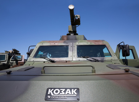 reg: CHERNIHIV REG, UKRAINE - May. 11, 2015: The latest weapons, armored vehicles Kozak and anti-tank missiles for the army of Ukraine at the training center of the Land Forces of the Armed Forces Desna