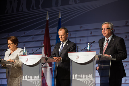 donald: RIGA, LATVIA - May 22, 2015: Eastern Partnership Sammit. European Commission President Jean-Claude Juncker and President of the European Council Donald Tusk