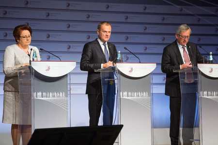 tusk: RIGA, LATVIA - May 22, 2015: Eastern Partnership Sammit. European Commission President Jean-Claude Juncker and President of the European Council Donald Tusk