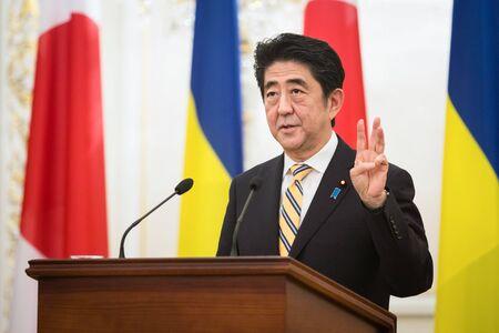 abe: KIEV, UKRAINE - Jun 06, 2015: Japanese Prime Minister Shinzo Abe during his meeting with President of Ukraine Petro Poroshenko in Kiev Editorial