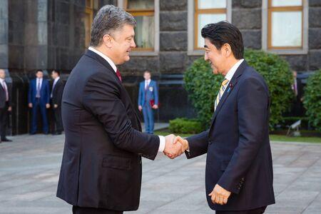 abe: KIEV, UKRAINE - Jun 06, 2015: Japanese Prime Minister Shinzo Abe during his meeting with President of Ukraine Petro Poroshenko in Kiev. Official meeting