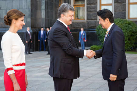 abe: KIEV, UKRAINE - Jun 06, 2015: Japanese Prime Minister Shinzo Abe during his meeting with President of Ukraine Petro Poroshenko in Kiev. Official meeting