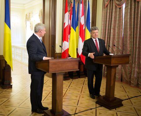 stephen: KIEV, UKRAINE - Jun 06, 2015: Joint press conference of the President of Ukraine Petro Poroshenko, and Canadian Prime Minister Stephen Harper