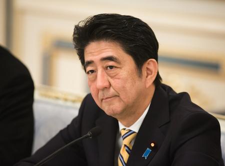 KIEV, UKRAINE - Jun 06, 2015: Japanese Prime Minister Shinzo Abe during his meeting with President of Ukraine Petro Poroshenko in Kiev Editoriali