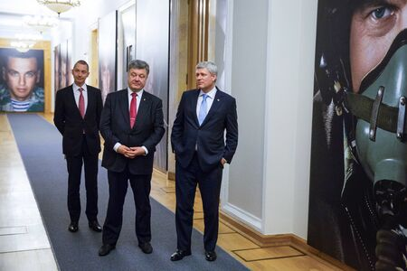 stephen: KIEV, UKRAINE - Jun 06, 2015: President of Ukraine Petro Poroshenko and the Prime Minister of Canada Stephen Harper during meeting in Kiev