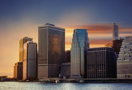exterior architecture: Modern architecture of Manhattan. Sunset in New York City.