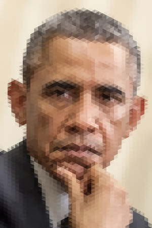 obama care: January 20, 2014: Abstract portrait illustration of the President of United States Barack Obama. Editorial