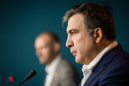 the chairman: KIEV, UKRAINE - Jun 23, 2015: Chairman of the Odessa Regional State Administration Mikhail Saakashvili during a meeting with journalists. Briefing in Presidential Administration of Ukraine.