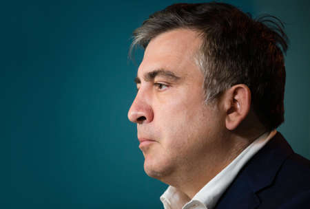 mikhail: KIEV, UKRAINE - Jun 23, 2015: Chairman of the Odessa Regional State Administration Mikhail Saakashvili during a meeting with journalists. Briefing in Presidential Administration of Ukraine.