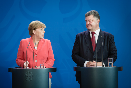 BERLIN, GERMANY - Aug 24, 2015: Chancellor of the Federal Republic of Germany Angela Merkel during a joint briefing with President of Ukraine Petro Poroshenko