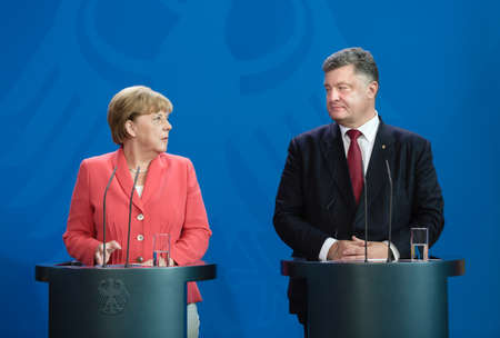 chancellor: BERLIN, GERMANY - Aug 24, 2015: Chancellor of the Federal Republic of Germany Angela Merkel during a joint briefing with President of Ukraine Petro Poroshenko