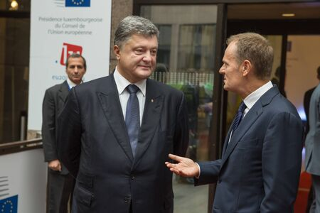 donald: BRUSSELS, BELGIUM - Aug 27, 2015: President of Ukraine Petro Poroshenko and the President of the European Council, Donald Tusk during a meeting in Brussels