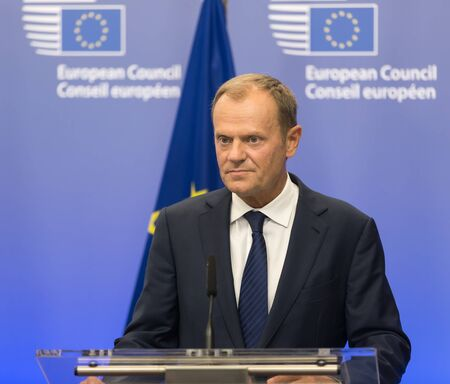 donald: BRUSSELS, BELGIUM - Aug 27, 2015: President of the European Council Donald Tusk during a meeting with President of Ukraine Petro Poroshenko in Brussels Editoriali