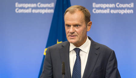 BRUSSELS, BELGIUM - Aug 27, 2015: President of the European Council Donald Tusk during a meeting with President of Ukraine Petro Poroshenko in Brussels Editoriali